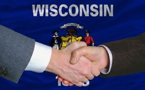 Wisconsin WordPress Design State Flag and Handshake